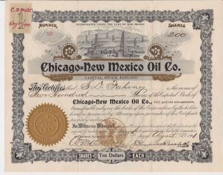 Chicago - Mexico Oil Company Stock Certificate 1901 Mexico photo