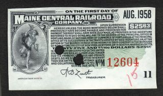 $25 Dollar Maine Central Railroad Company Bond Certificate Usa Coupon Lunt photo