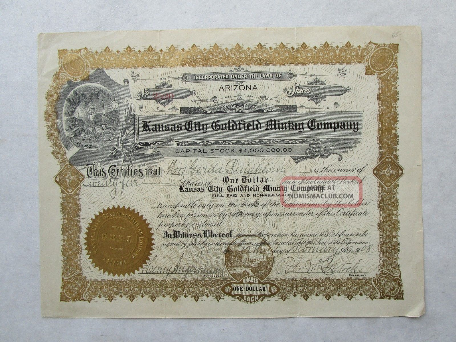 Kansas City Goldfield Mining Company An Oregon Corporation Stocks & Bonds, Scripophily photo