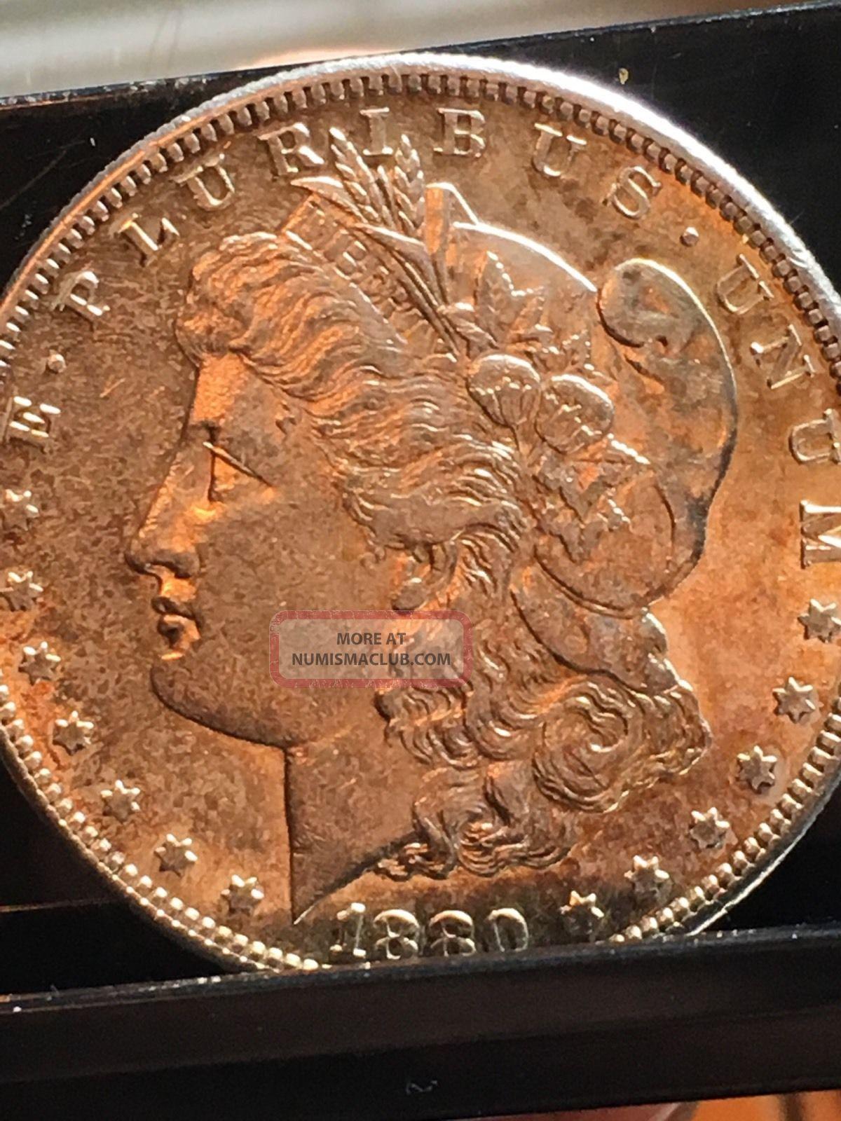 Morgan Dollar Bu 1880 S Pl,  Obverse Toning Good Looking Coin 1 Day Dollars photo