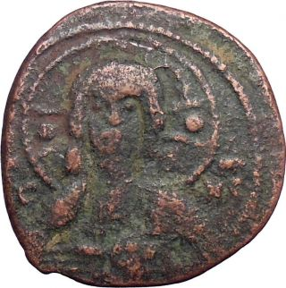 Jesus Christ Class I Anonymous Ancient 1078ad Byzantine Follis Coin Cross I28348 photo