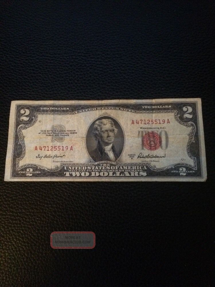 1953a $2 Dollar Bill Old Us Note Legal Tender Paper Money Currency Red Seal Aa Small Size Notes photo