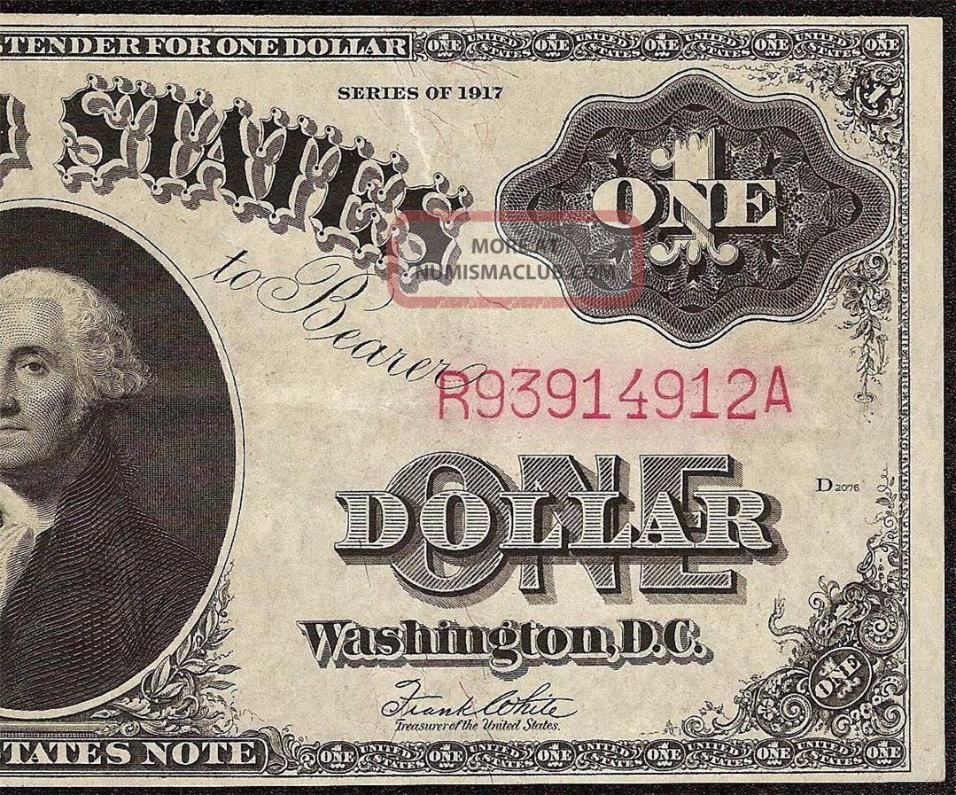 Large 1917 $1 One Dollar Bill United States Legal Tender Note Paper Money Ef - Au Large Size Notes photo
