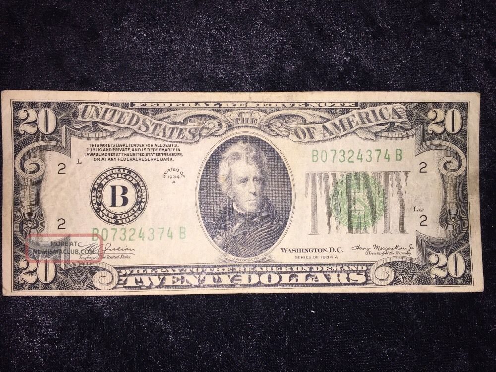 1934 A $20 Frn York York Block Bb (bb4374) Small Size Notes photo
