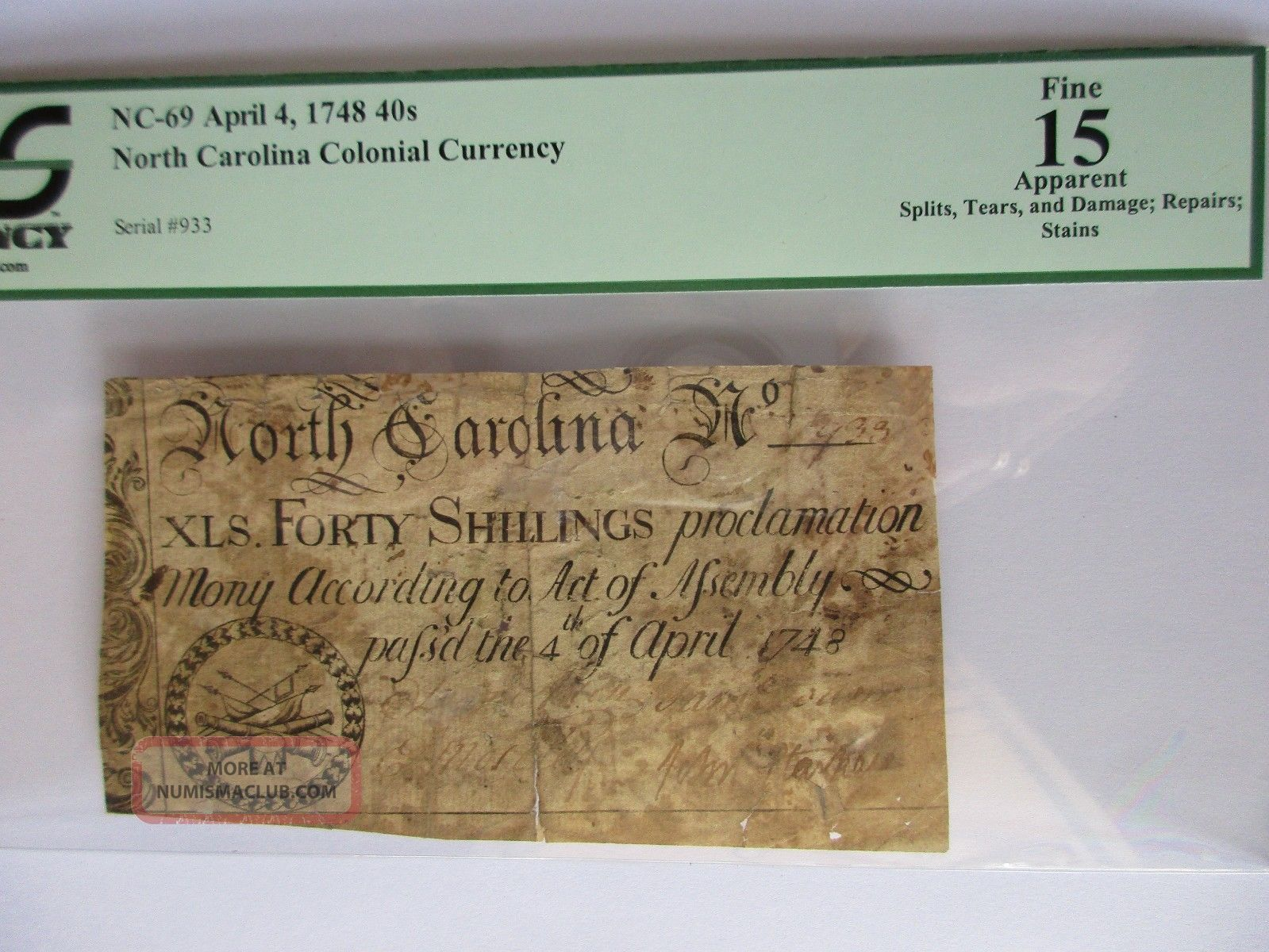 No.  Carolina Colonial Currency 1748.  40s,  Nc - 69,  Pcgs Fine 15 Apparent Paper Money: US photo