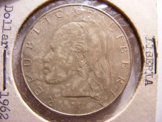 Liberia Silver Dollar,  1962,  Uncirculated photo