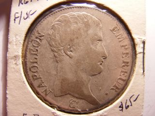 France 5 Francs,  1813 - A,  Fine,  /vf,  Km 694.  1 photo