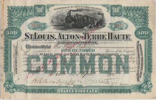 1892 St.  Louis,  Alton And Terre Haute Railroad Company.  George Foster Peabody. photo