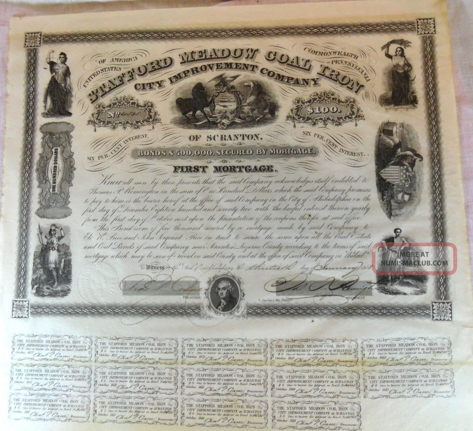 1858 Stafford Meadow Coal Iron Loan Bond Document Scranton Pa First Mortgage Stocks & Bonds, Scripophily photo
