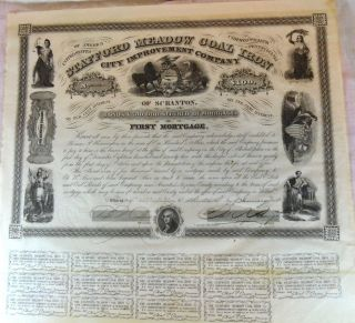 1858 Stafford Meadow Coal Iron Loan Bond Document Scranton Pa First Mortgage photo