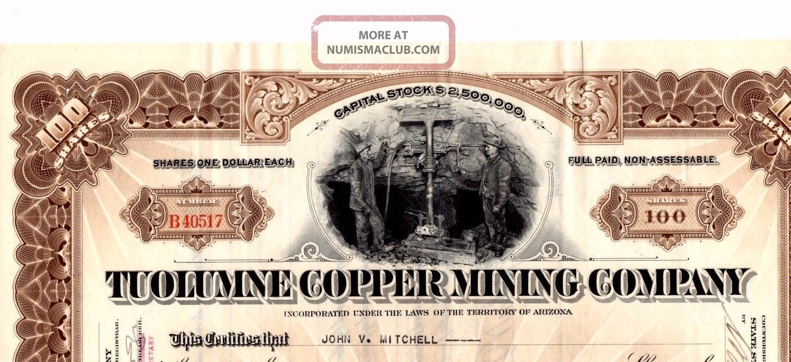 Stock Certificate: Tuolumne Copper Mining Co,  1923 Stocks & Bonds, Scripophily photo