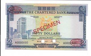 Hong Kong,  The Chartered Bank - $50,  Nd (1970 - 75).  Prefix A.  Specimen.  Cu.  Rare. photo