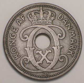 1928 Denmark Danish 5 Ore Crowned Monogram Coin Vf photo