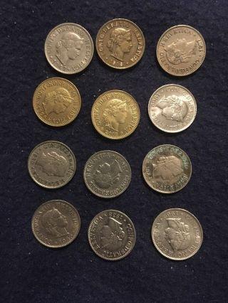 1918,  47,  07,  62,  30,  44,  62,  13,  55,  38.  1996,  2008 Switzerland Swiss Helvetia 5 Rappen photo