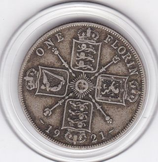1921 King George V Florin (2/ -) Silver British Coin photo