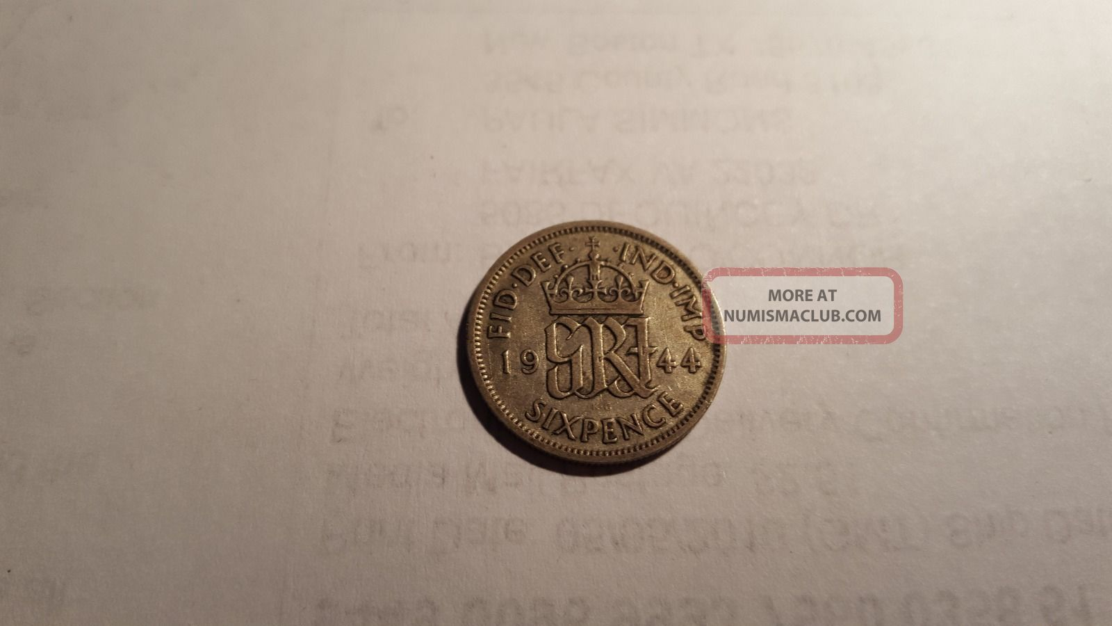 Great Britain Six Pence Coin ' Lucky ' Wedding Coin 1944 King George Vi Ww2 Era Sixpence photo