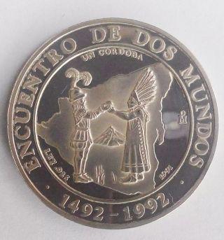 Nicaragua Silver Coin 1 Cordoba,  Proof 1991 - Encuentro Dos Mundos Ibero photo