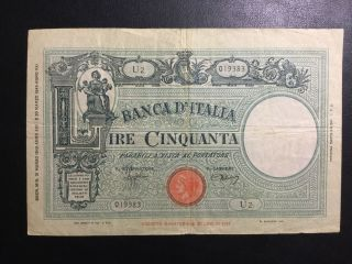 1943 Italy Paper Money - 50 Lire Banknote photo
