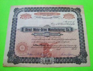 Rare 1907 Direct Motor - Drive Mfg Co.  Stock Car/truck Signed Unissued Jersey photo