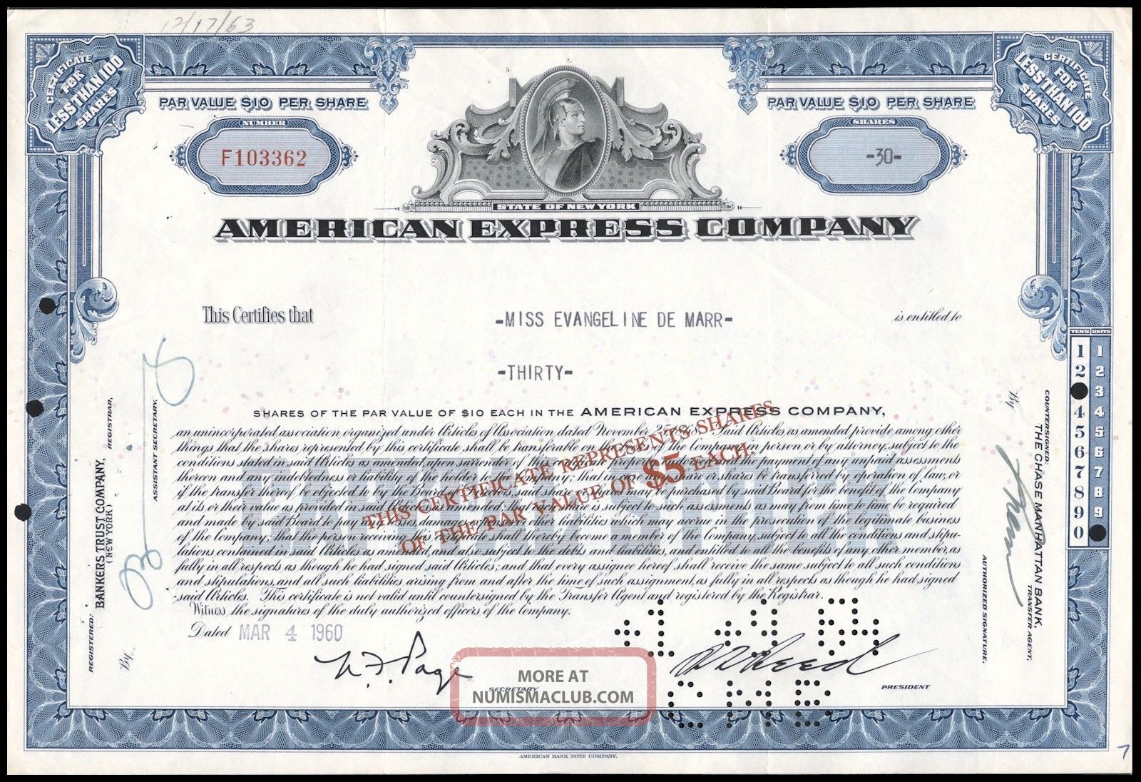 1960 American Express Company 30 Share Common Stock Certificate Blue Wysiwyg Vg, Stocks & Bonds, Scripophily photo