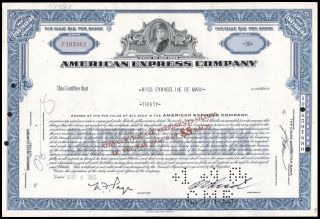 1960 American Express Company 30 Share Common Stock Certificate Blue Wysiwyg Vg, photo