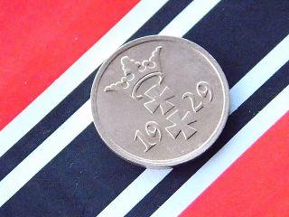 Very Rare German Coin Rpf 1 Pfennig Copper 1929 City Danzig Weimar - photo