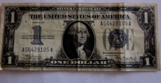 1934 $1 Small Size Silver Certificate With Funny Back= Circulated photo