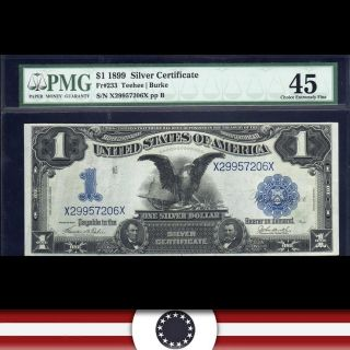 Black Eagle 1899 $1 Silver Certificate,  Pmg 45,  Fr 233 X29957206x photo