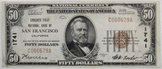 1929 $50.  00 Crocker Fnb Of San Francisco,  Ca National Banknote,  Chtr 1741,  Vf, photo