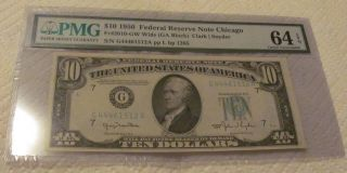 1950 $10 Chicago Federal Reserve Note - Pmg 64 Epq Choice Uncirculated Cu photo