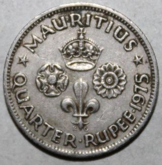 Mauritius Quarter Rupee Coin,  1975 - Km 36 - 1/4 - Elizabeth Ii photo