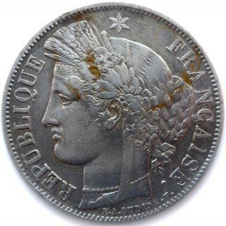 フランスのコイン、1849 年、パリ、5 フラン金属金ワーク ショップ セレス、グレード Vf, photo