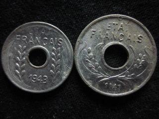 Xd078 - Vietnam Indochine - Aluminum - 1 & 5 Cent 1943s - - photo