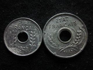 Xd062 - Vietnam Indochine - Aluminum - 1 & 5 Cent 1943s - - photo