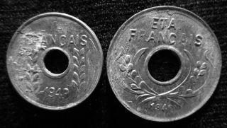 Xd044 - Vietnam Indochine - Aluminum - 1 & 5 Cent 1943s - - photo