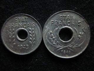 Xd076 - Vietnam Indochine - Aluminum - 1 & 5 Cent 1943s - - photo