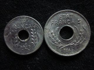 Xd080 - Vietnam Indochine - Aluminum - 1 & 5 Cent 1943s - - photo