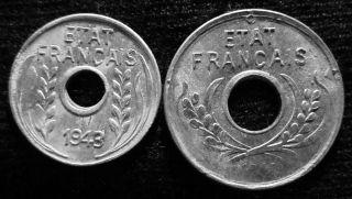 Xd040 - Vietnam Indochine - Aluminum - 1 & 5 Cent 1943s - - photo