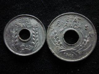 Xd066 - Vietnam Indochine - Aluminum - 1 & 5 Cent 1943s - - photo