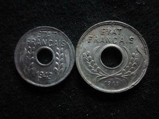 Xd071 - Vietnam Indochine - Aluminum - 1 & 5 Cent 1943s - - photo