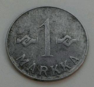 Finland 1 Markka 1952.  Km 36.  One Dollar Coin.  Iron.  One Coin.  Suomi. photo