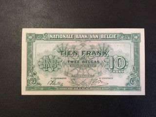 1943 Belgium Paper Money - 10 Francs Banknote photo