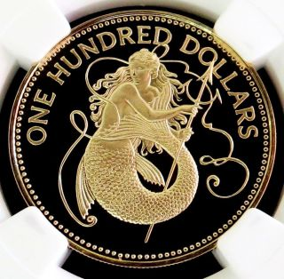 1985 Gold Barbados $100 Dollar Amphitrite Coin Ngc Proof 69 Ultra Cameo photo