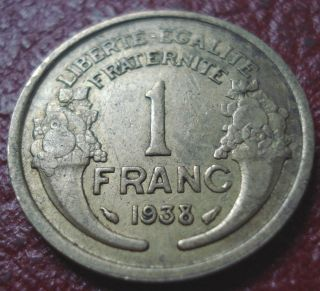 1938 France 1 Franc In Fine - Vf photo