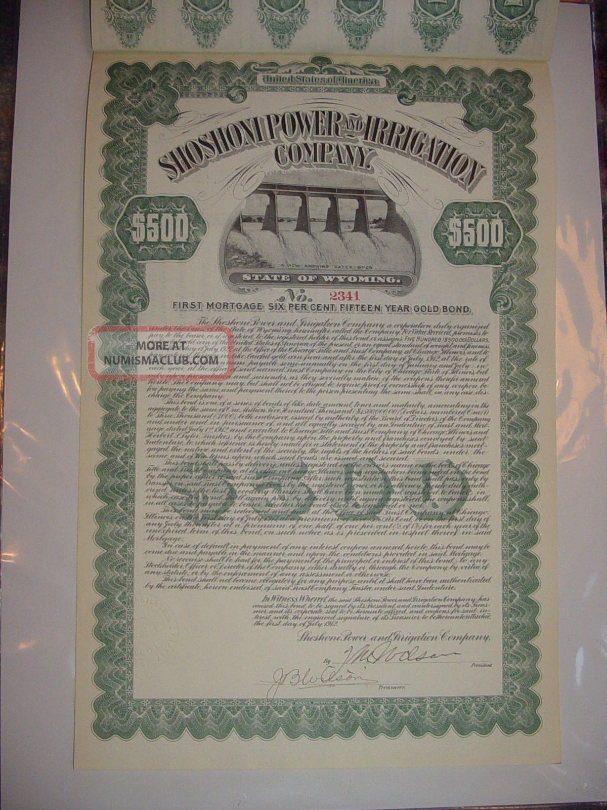 Shoshoni Power & Irrigation Company Bond Stock Certificate Wyoming Stocks & Bonds, Scripophily photo