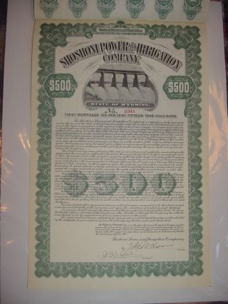 Shoshoni Power & Irrigation Company Bond Stock Certificate Wyoming photo