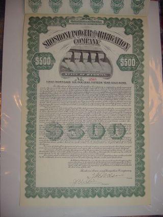 Shoshoni Power & Irrigation Company Bond Stock Certificate Wyoming photo