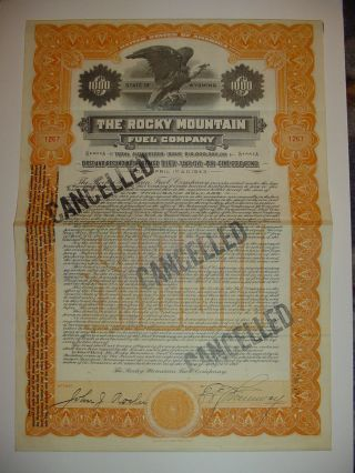 The Rocky Mountain Fuel Company Bond Stock Certificate Wyoming photo