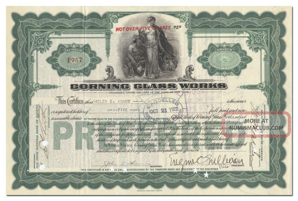 Corning Glass Stock Certificate Stocks & Bonds, Scripophily photo