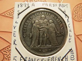 France 5 Francs,  1873,  Denomination Within Wreath (extremely Fine) $39.  99 photo
